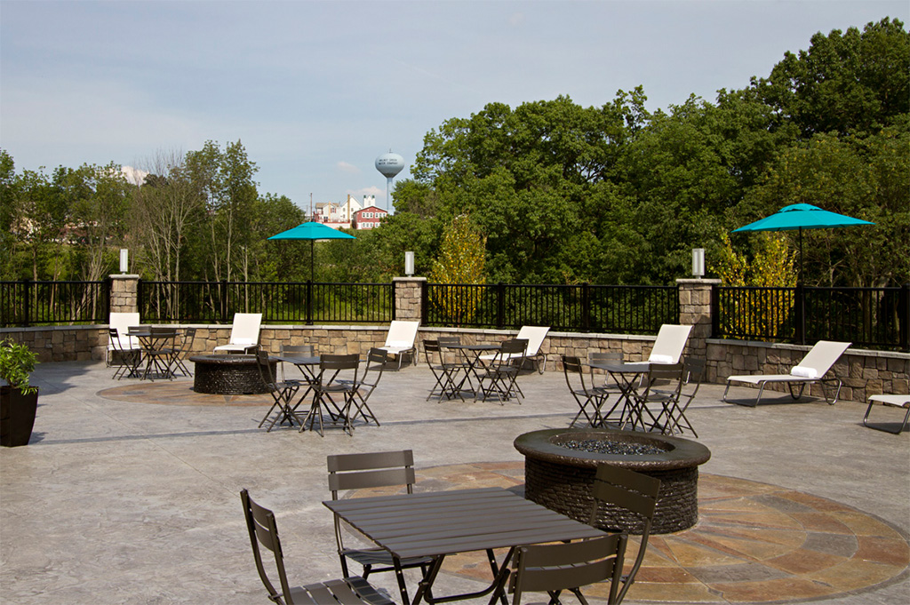 Outdoor seating area with view of Walnut Creek